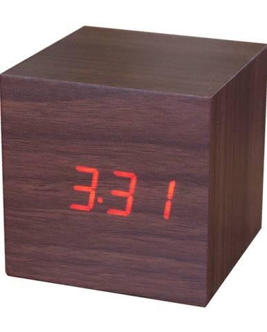 Tmavohnedý budík s červeným LED displejom Gingko Cube Click Clock