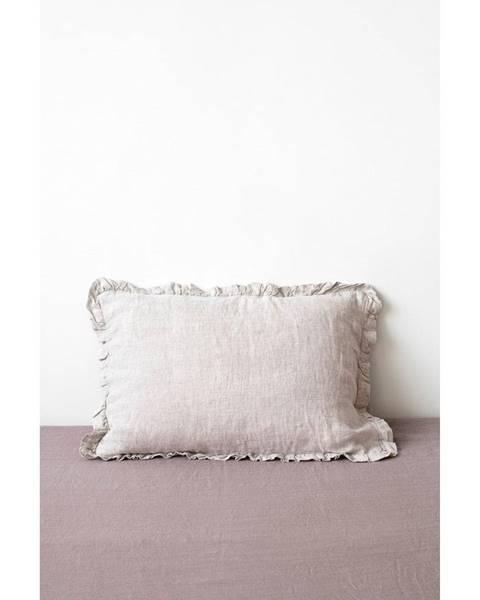 Linen Tales Prírodná ľanová obliečka na vankúš s riaseným lemom Linen Tales, 50 x 60 cm