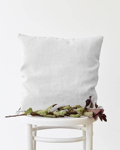 Biela ľanová obliečka na vankúš Linen Tales, 45 x 45 cm