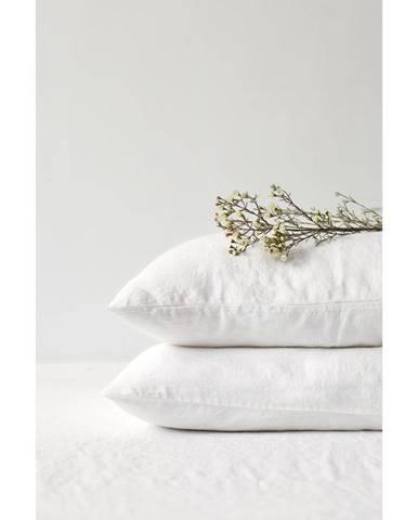 Biela ľanová obliečka na vankúš Linen Tales, 70 x 90 cm