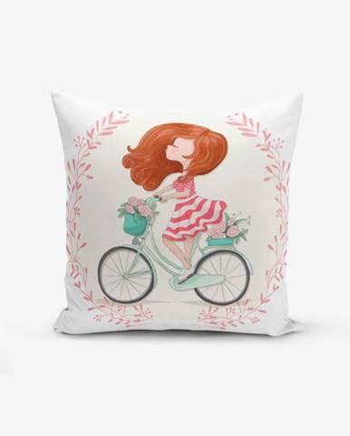 Obliečka na vankúš s prímesou bavlny Minimalist Cushion Covers Bike Girl, 45×45 cm