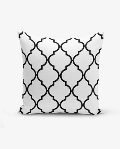 Čierno-biela obliečka na vankúš s prímesou bavlny Minimalist Cushion Covers Black White Ogea, 45×45 cm