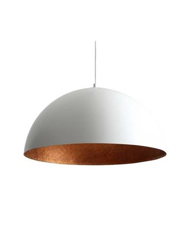 Biele závesné svietidlo s detailom v medenej farbe Custom Form Lord, ø 50 cm