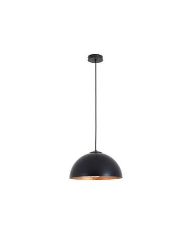 Čierne závesné svietidlo s detailom v medenej farbe Custom Form Lord, 35 cm