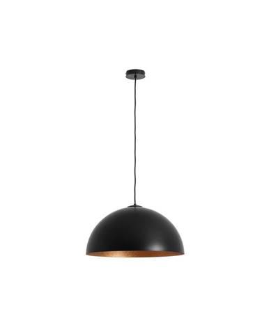 Čierne závesné svietidlo s detailom v medenej farbe Custom Form Lord, 50 cm