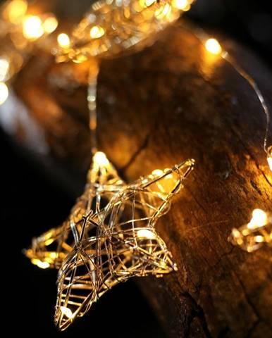 LED svetelná reťaz so 4 závesmi v tvare hviezdičiek DecoKing Stars, 38 svetielok, dĺžka 0,75 m