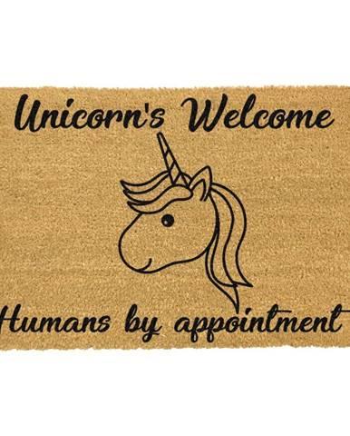 Rohožka z prírodného kokosového vlákna Artsy Doormats Unicorns Welcome, 40 x 60 cm