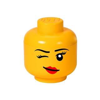 Žltý úložný box v tvare hlavy LEGO® Winky, ⌀ 16,3 cm