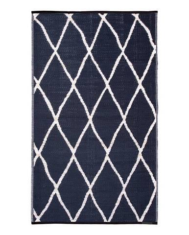 Modro-béžový obojstranný vonkajší koberec z recyklovaného plastu Fab Hab Nairobi Natural & Black, 120 x 180 cm