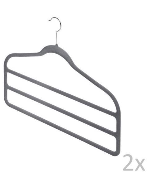 Domopak Sada 2 sivých vešiakov na nohavice Domopak Velvet