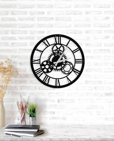 Čierne nástenné hodiny Davin Clock, ⌀48 cm
