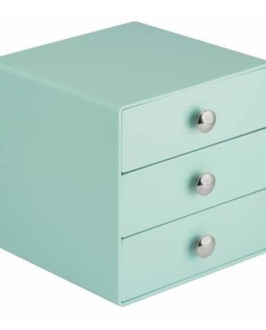 Mätovozelený úložný box s 3 zásuvkami iDesign Drawers, výška16,5cm