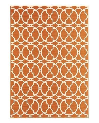 Oranžový vonkajší koberec Floorita Interlaced, 133x190 cm