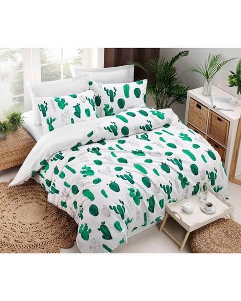 Bonami Obliečky s plachtou s prímesou bavlny na dvojlôžko Kaktus Green, 200 × 220 cm