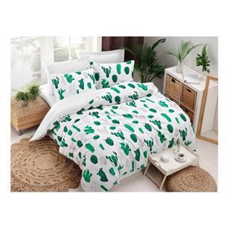 Obliečky s plachtou s prímesou bavlny na dvojlôžko Kaktus Green, 200 × 220 cm