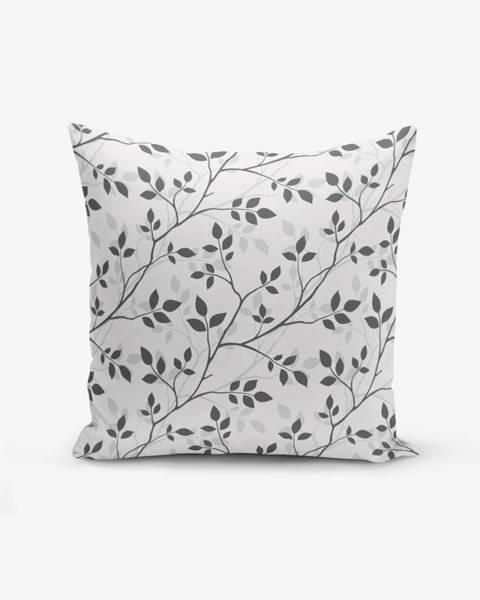 Minimalist Cushion Covers Obliečka na vankúš s prímesou bavlny Minimalist Cushion Covers Grey Background Leaf, 45×45 cm