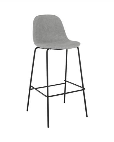 Barová stolička svetlosivá látka/kov MARIOLA NEW