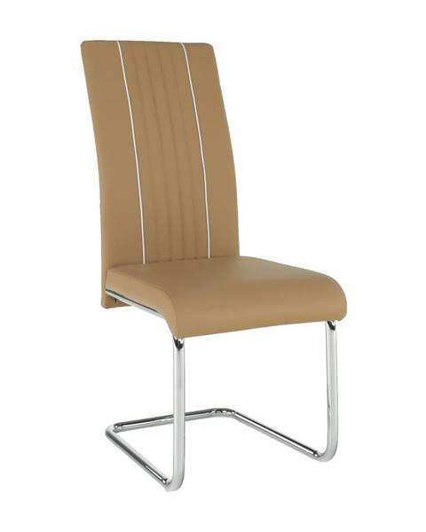 Kondela Jedálenská stolička ekokoža béžová/biela/chróm LESANA