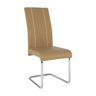 Jedálenská stolička ekokoža béžová/biela/chróm LESANA