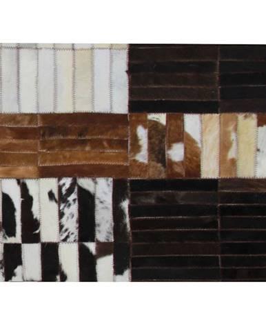 Luxusný kožený koberec čierna/hnedá/biela patchwork 201x300 KOŽA TYP 4