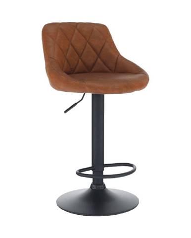 Barová stolička ekokoža koňaková/čierna TERKAN