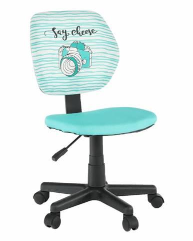Otočná stolička látka vzor/mentolová BLUES