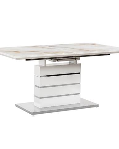 Jedálenský stôl rozkladací mramorový vzor/biela HG LAJOS poškodený tovar