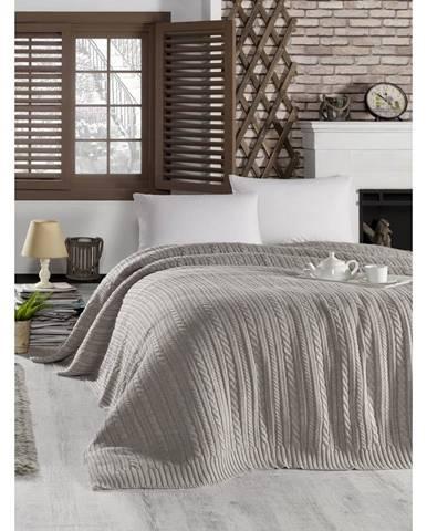 Tmavobéžová prikrývka cez posteľ Camila, 220 x 240 cm