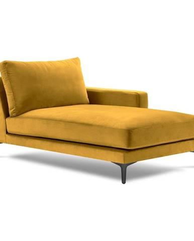Žltá zamatová leňoška Kooko Home Harmony, pravý roh