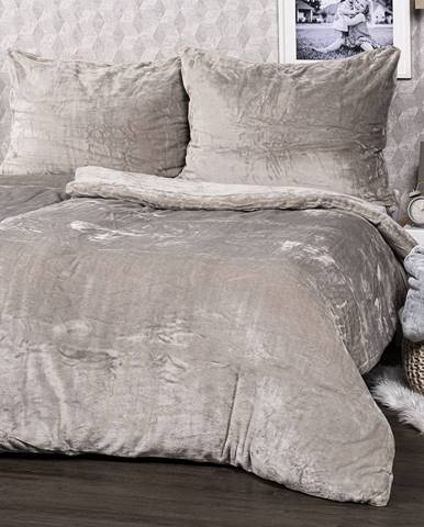 4home obliečky mikroflanel sivá, 140 x 200 cm, 70 x 90 cm