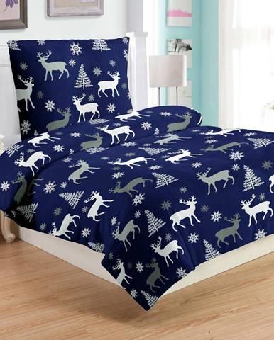 Modré mikroplyšové obliečky My HoDeer, 140 x 200 cm