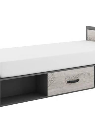 Posteľ s výklopným matracom SANTANA SA-16 dub santana/sivá, 90x200 cm