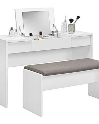 Toaletný stolík s lavicou LIPSTICK biela