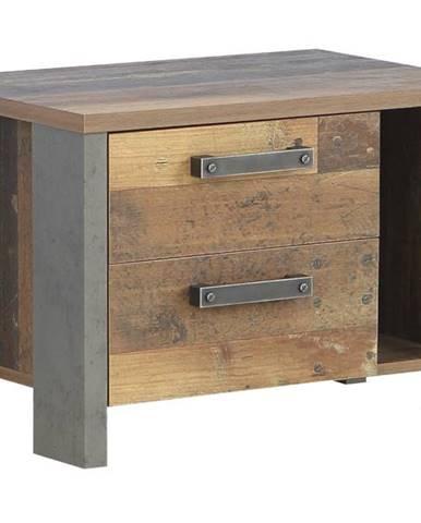 Nočný stolík CLIF staré drevo/betón