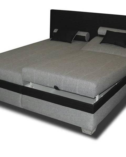 Sconto Polohovacia posteľ GENOVIA čierna/sivá, 180x200 cm