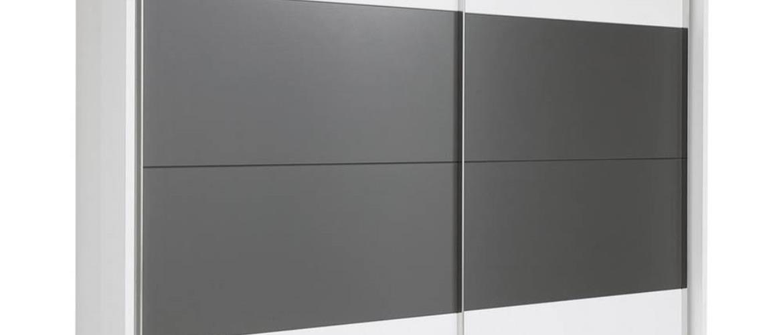 Xora SKRIŇA S POSUVNÝMI DVERAMI, biela, tmavosivá, 240/226/60 cm - biela, tmavosivá